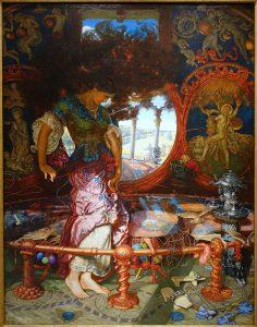 ウィリアム・ホルマン・ハントによる『シャロットの女』(1905年)、ランスロット卿を一目みたとき、シャルロット姫に呪いがかかり、鏡が横にひび割れるシーンを描いた作品